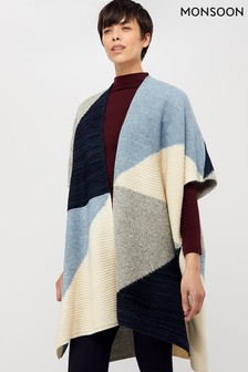 Monsoon Blue Polly Colourblock Poncho