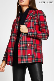 River Island Red Bright Tartan Drop Break Blazer