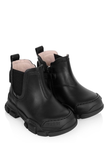 Kids Black Leather Leon Booties