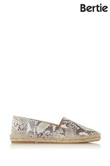 Bertie Greet Reptile Print Leather Chiselled Toe Espadrilles