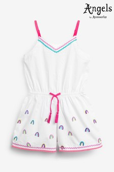 Angels by Accessorize White Embroidered Rainbow Playsuit