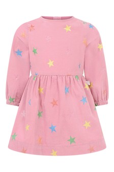 Baby Girls Pink Glitter Stars Corduroy Dress