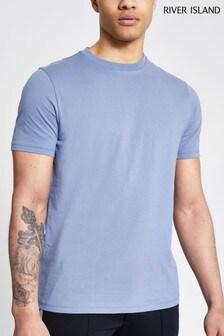 River Island Blue Medium Slim Crew T-Shirt