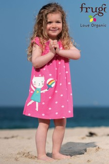 Frugi Organic Jersey Dress In Pink With Cat Appliqué