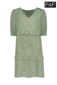 F&F Green Ditsy Tiered Dress
