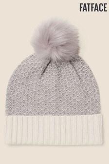 FatFace Grey Cashmere Blend Beanie Hat