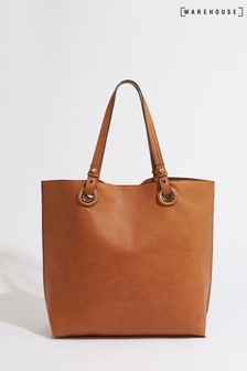 Warehouse Tan Eyelet Shopper Bag