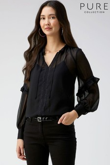 Pure Collection Black Lace Trim Tie Neck Blouse