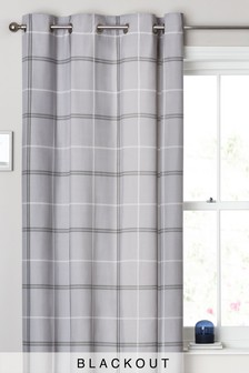 Eyelet Single Versatile Check Grey Curtain