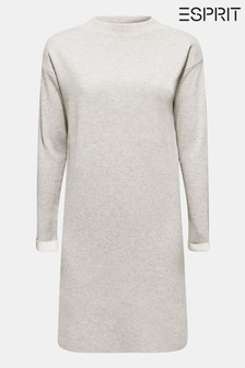 Esprit Grey Flat Knit Dress With Front Pocket
