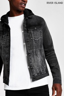 River Island Black Washed Hooded Denim Jacket