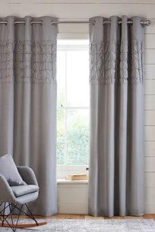 Texture Pleats Eyelet Curtains