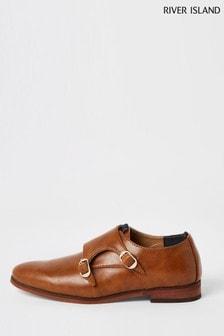 River Island Brown Monk Strap Shoes
