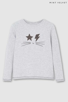 Mint Velvet Grey Rock Face Print T-Shirt