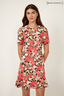 Warehouse Black Floral Peplum Hem Dress