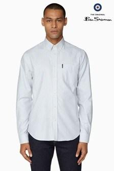 Ben Sherman Blue Long Sleeve Oxford Bengal Stripe Shirt
