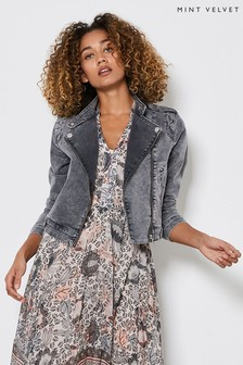 Mint Velvet Grey Acid Wash Denim Biker Jacket