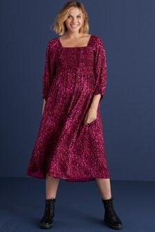 Maternity Square Neck Shirred Midi Dress