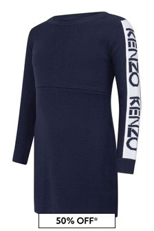 Kenzo Kids Girls Navy Wool Logo Dress