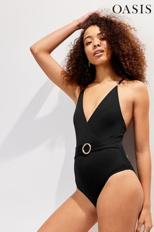 Oasis Black Ring Detail Swimsuit