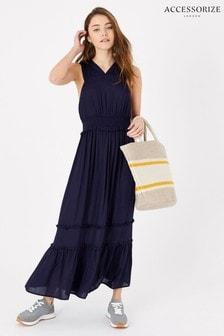 Accessorize Blue High V-Neck Jersey Maxi Dress
