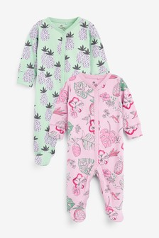 2 Pack Pineapple Floral Sleepsuits (0mths-2yrs)
