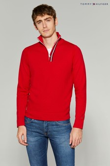 Tommy Hilfiger Global Stripe Zip Mock Sweater