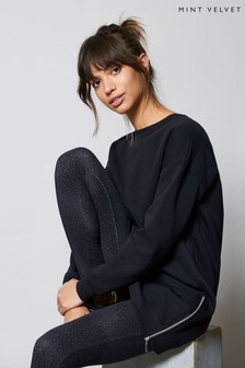 Mint Velvet Navy Long Zip Sweatshirt