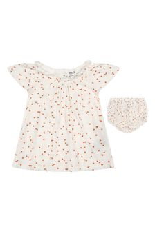 Bonpoint Baby Girls Cream Cotton Outfit