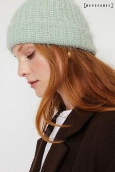 Warehouse Green Eyelash Yarn Beanie Hat