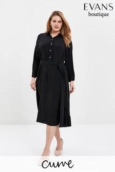 Evans Curve Black Button Shirt Dress