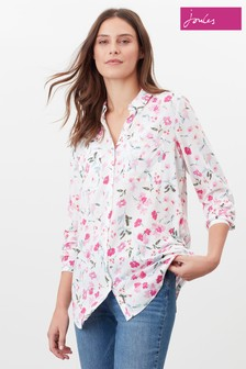 Joules Cream Elvina Button Through Blouse With Patch Pockets