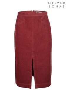 Oliver Bonas Corduroy Pink Pencil Midi Skirt