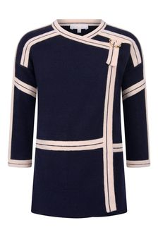 Girls Navy Cotton & Wool Knitted Jacket
