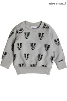 Tobias & The Bear Grey Boris The Badger Cotton Sweatshirt