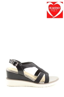 Heavenly Feet Marin Ladies Black High Wedge Sandals
