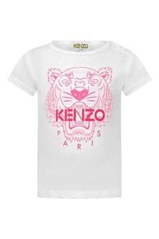 Baby Girls White Cotton Tiger T-Shirt