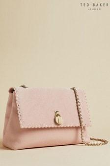 Ted Baker Monikah Umhängetasche mit Muschelkante und Vorhängeschloss, Pink