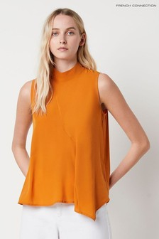 French Connection Yellow Abena Light Mock Neck Sleeveless Top