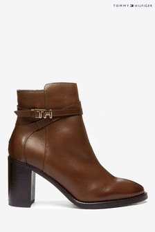 Tommy Hilfiger Brown Monogram Hardware Leather Ankle Boots