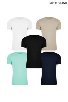 River Island Stone Dark Muscle T-Shirts Five Pack