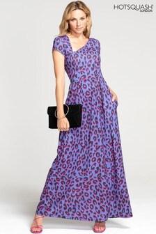 HotSquash Leopard Asymmetric Neckline Jersey Maxi Dress
