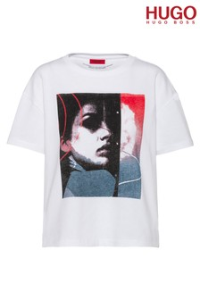 HUGO White The Boxy T-Shirt