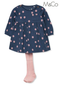 M&Co Blue Flower Dress With Tights