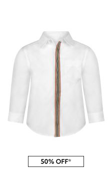 Baby Boys White Cotton Shirt
