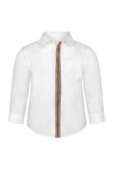 Burberry Kids Baby Boys White Cotton Shirt