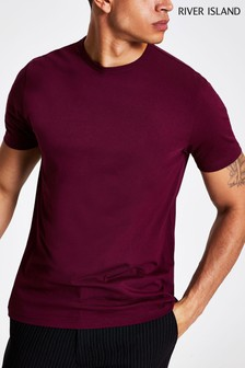 River Island Dark Red Slim T-Shirt
