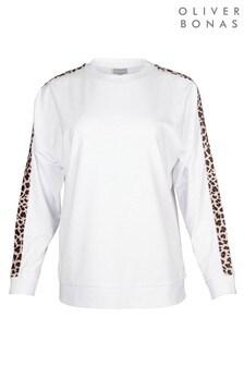 Oliver Bonas Animal Print Tape White Sweatshirt