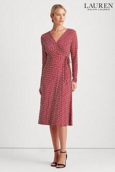 Lauren Ralph Lauren® Red Geometric Coreen Wrap Dress
