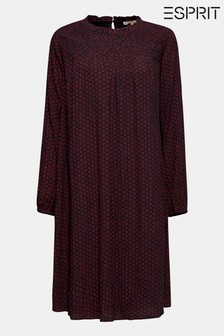 Esprit Red Print Crincle Dress